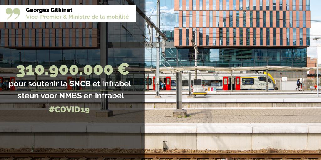 COVID19 - 310.900.000 euros pour soutenir la SNCB et Infrabel