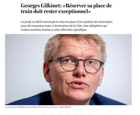 Georges Gilkinet: «Réserver sa place de train doit rester exceptionnel» (Le Soir)